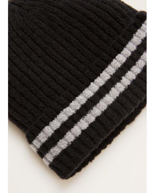 Mango - Black Striped Knit Hat for Men - Lyst