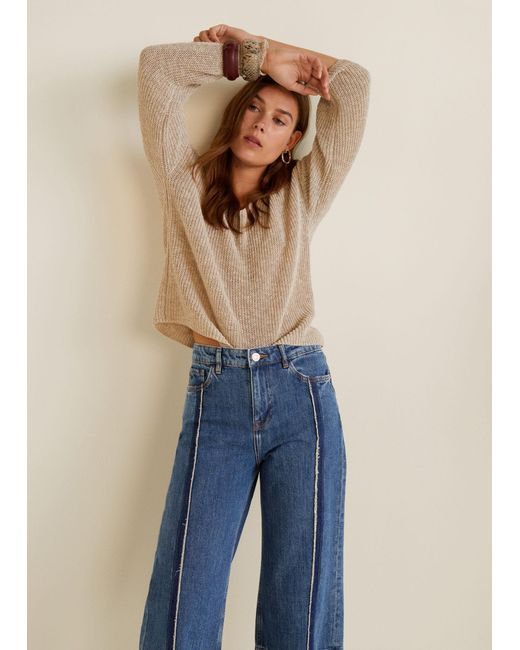 Mango - Blue Culotte Relaxed Jeans - Lyst