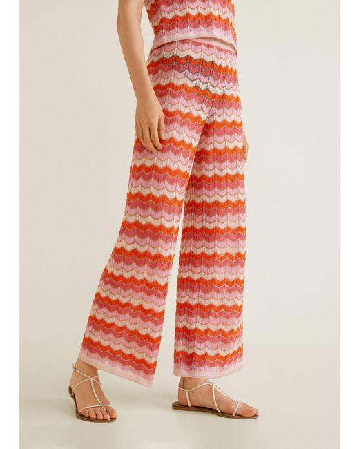 Mango - Red Striped Knit Trousers - Lyst