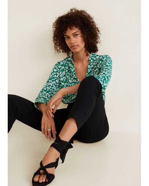 Mango - Green Printed Flowy Shirt - Lyst