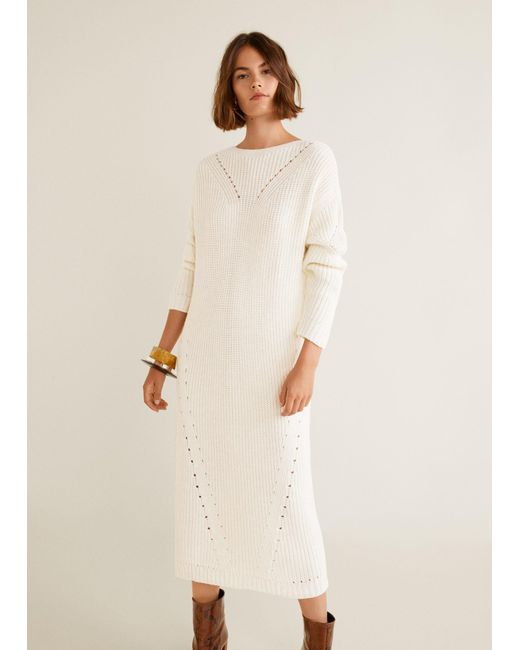 0bcac3807e7a Mango - White Open-work Long Dress - Lyst ...