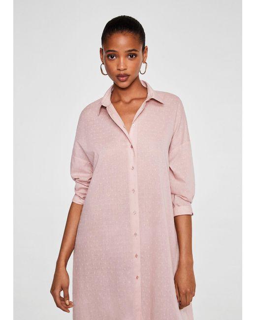 Mango - Pink Cotton Long Shirt - Lyst