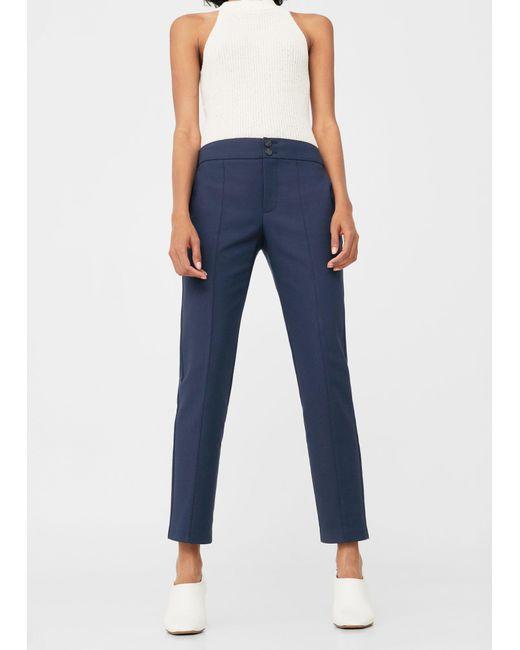 Mango | Blue Straight-cut Crop Trousers | Lyst