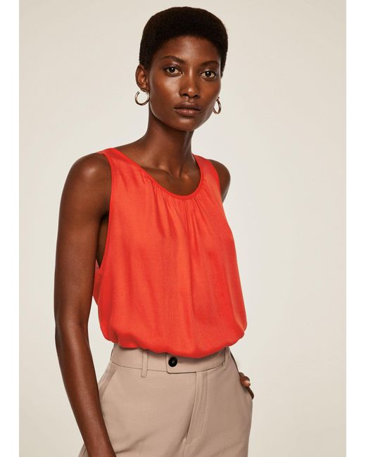 Mango - Red Ruched Detail Top - Lyst