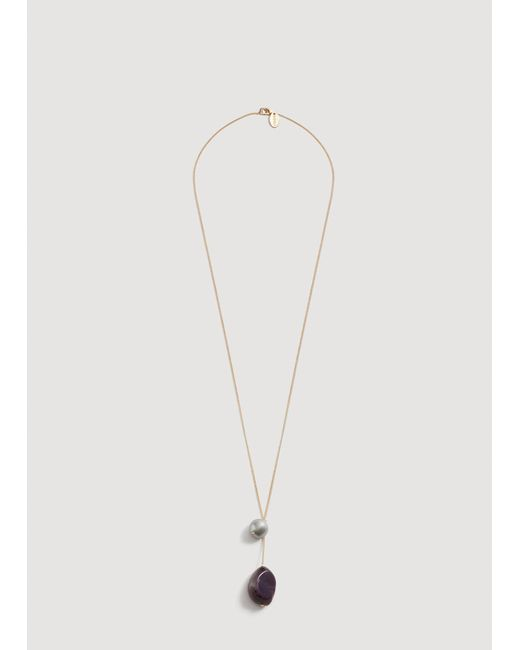 Mango - Metallic Stone Pendant Necklace - Lyst