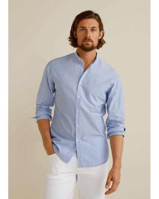 419295c8c168 Mango - Blue Slim-fit Mao Collar Shirt for Men - Lyst ...