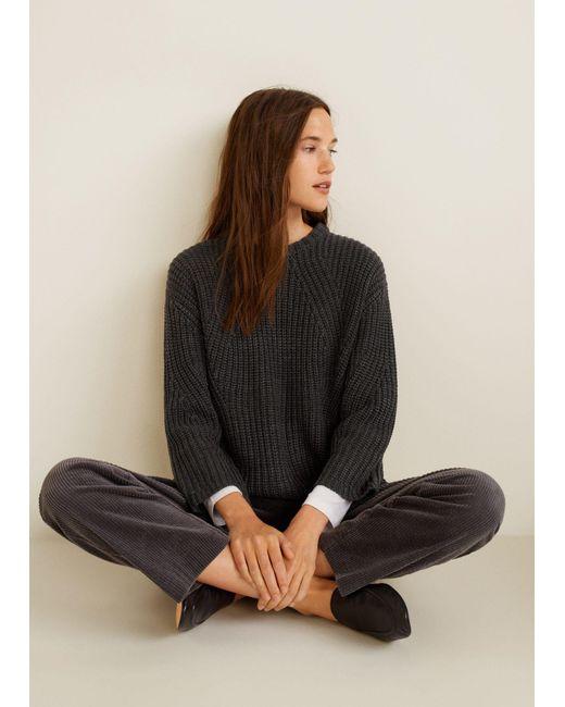 Mango - Gray Chunky-knit Sweater - Lyst