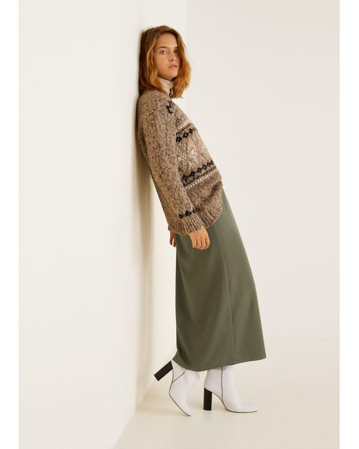 2870c3270 Mango - Green Pleated Midi Skirt - Lyst ...