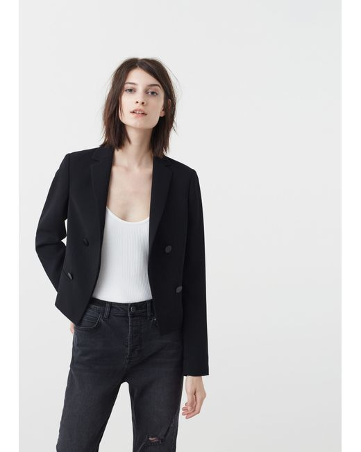 Mango | Black Double-breasted Jacket | Lyst