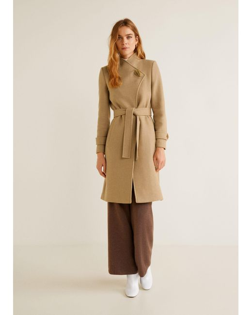 ... Mango - Brown Lapels Wool Coat - Lyst ... d5c68b72c