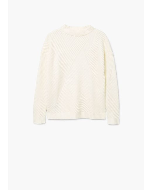 Mango | White Stripe Textured Sweater | Lyst