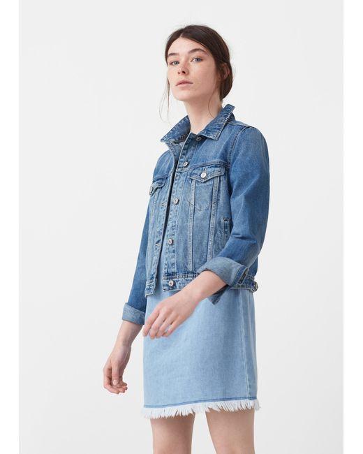 Mango | Blue Dark Denim Jacket | Lyst