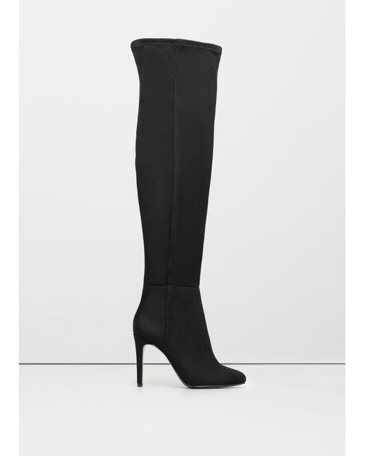 Mango | Black Over The Knee Heel Boots | Lyst