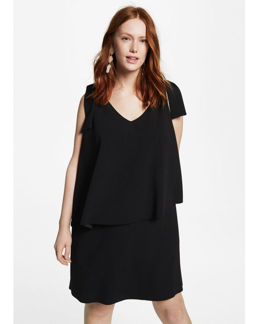 Violeta by Mango - Black Double Layer Dress - Lyst