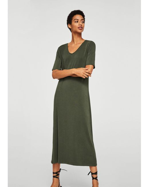 Mango - Green Knit Long Dress - Lyst