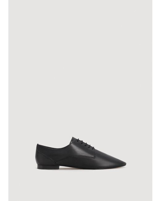 Mango - Black Leather Flat Shoes - Lyst