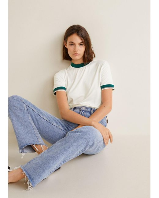 Mango - White Contrast Edge T-shirt - Lyst