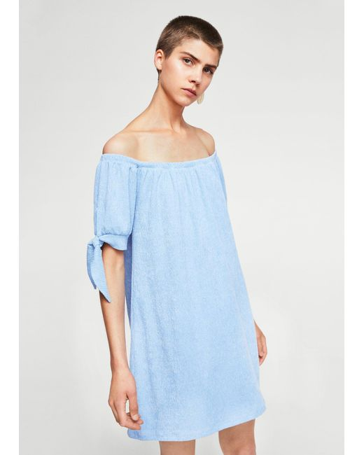 Mango | Blue Knots Textured Dress | Lyst