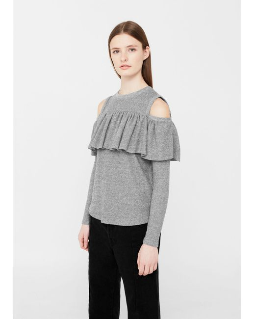 Mango | Gray Off Shoulders T-shirt | Lyst