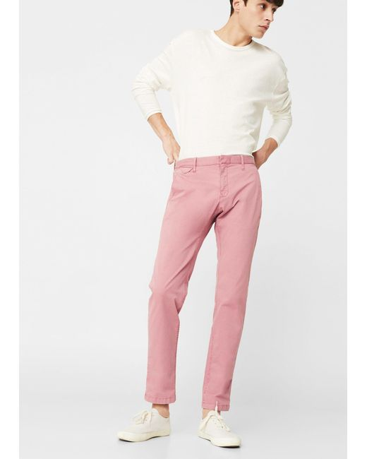 Mango | Pink Straight-fit Cotton Chinos for Men | Lyst