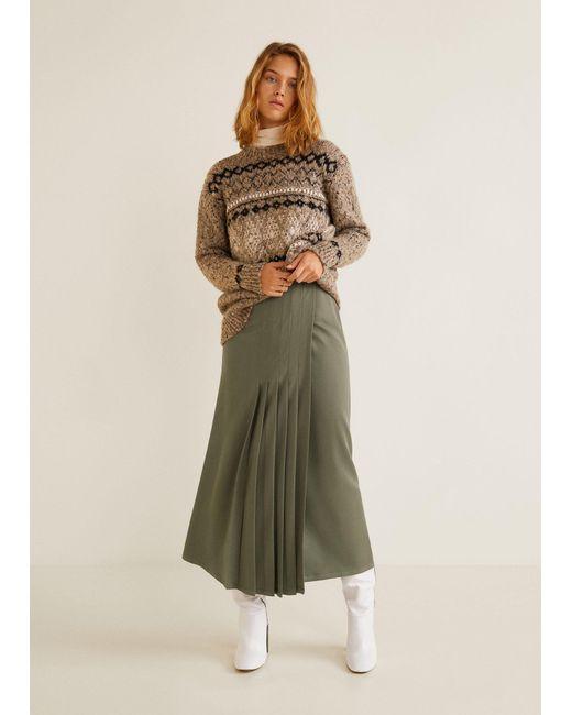 83975ca0a ... Mango - Green Pleated Midi Skirt - Lyst ...