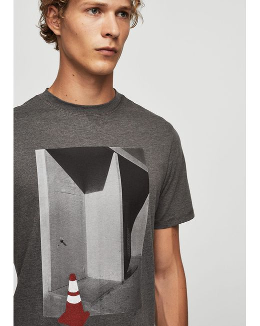 Mango | Gray Printed Picture Cotton T-shirt for Men | Lyst