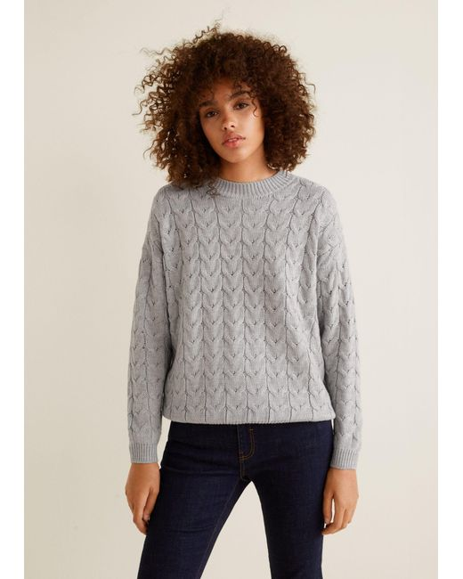 Mango - Gray Cable-knit Sweater - Lyst