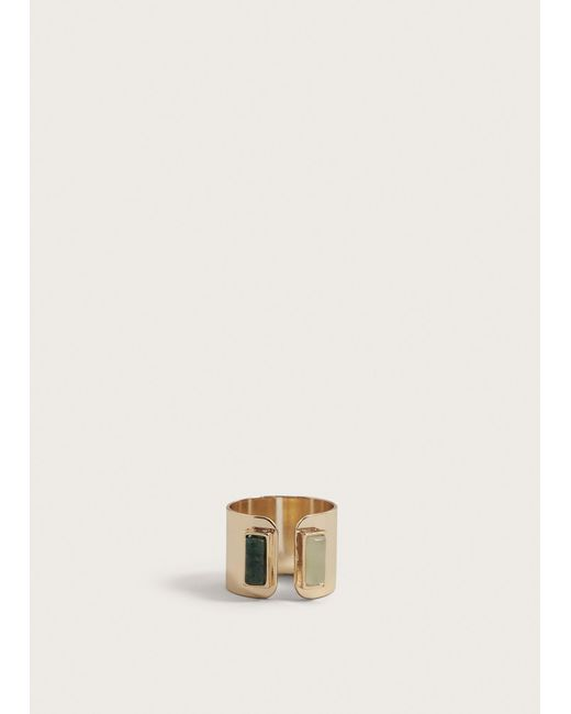 Violeta by Mango - Metallic Stone Geometric Ring - Lyst