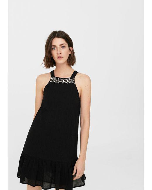 Mango | Black Jewel Texture Dress | Lyst