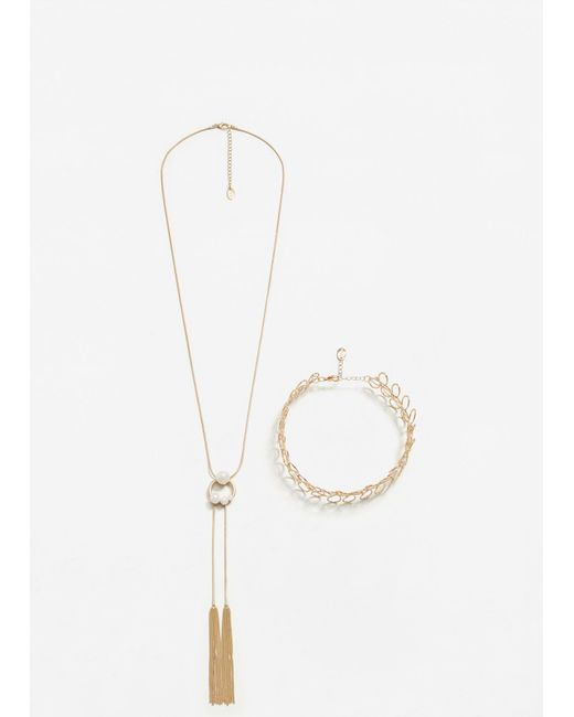 Mango | Metallic Metal Necklace Set | Lyst