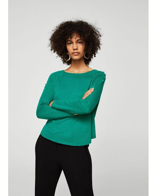 Mango - Green Sweater - Lyst