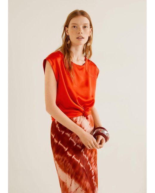 d6e59bbfb8ac57 Mango - Red Flowy T-shirt - Lyst ...