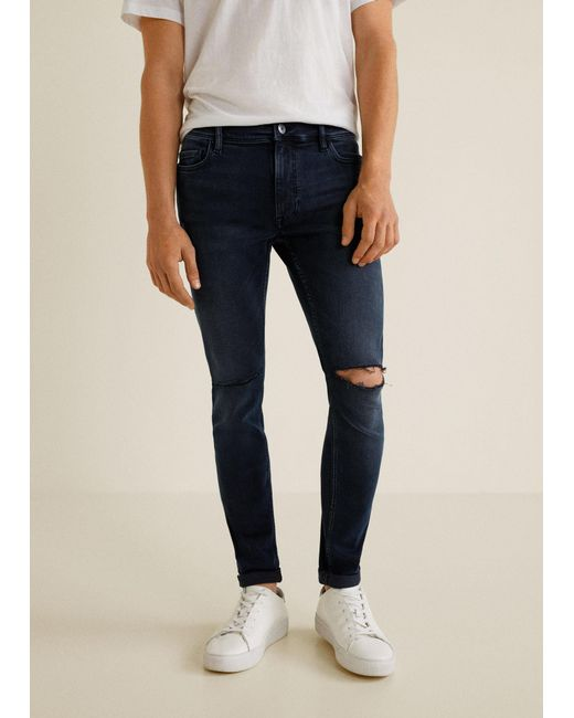 Mango - Blue Skinny Ripped Dylan Jeans for Men - Lyst