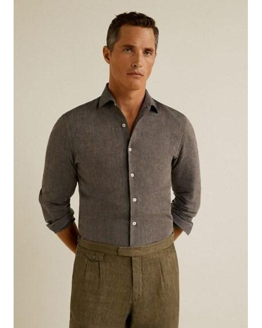 6f4adc352b9d Mango Slim-fit Linen Shirt Brown in Brown for Men - Save 29% - Lyst