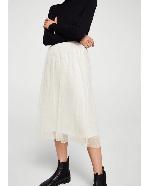 Mango | White Polka-dot Tulle Skirt | Lyst