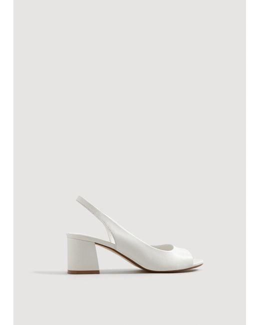 Mango - White Heel Leather Sandals - Lyst