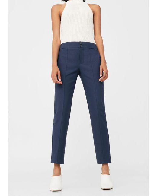 Mango - Blue Straight-cut Crop Trousers - Lyst