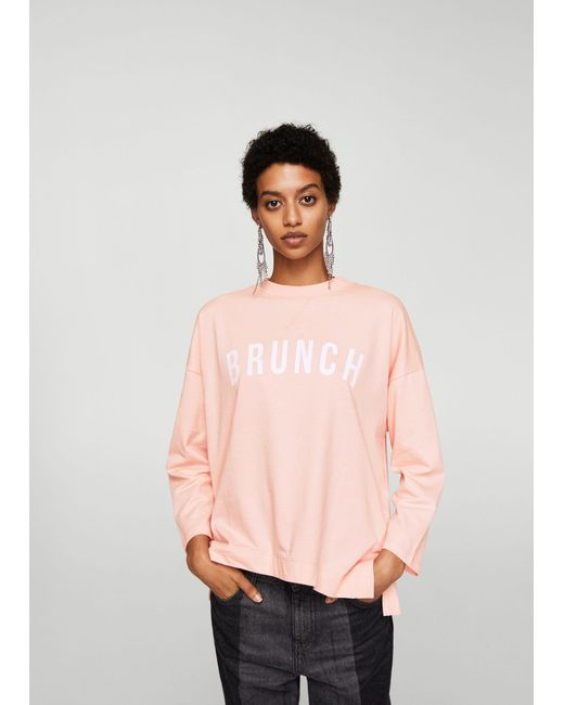 Mango | Pink Message Cotton Sweatshirt | Lyst