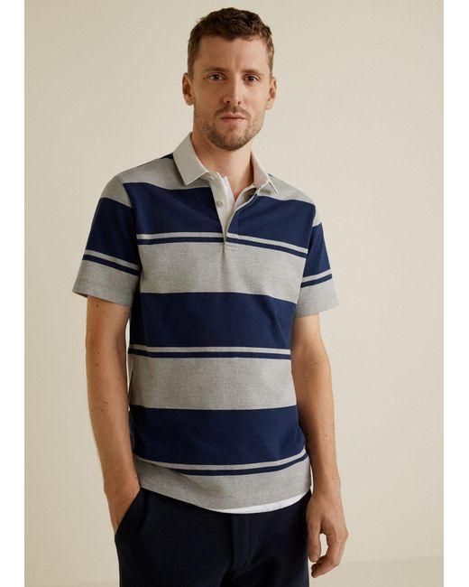 Mango - Gray Contrasting Stripes Cotton Polo Shirt for Men - Lyst