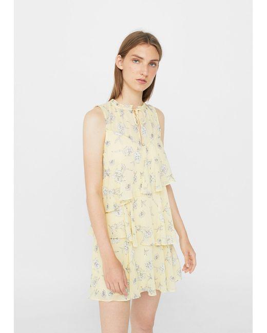 Mango | Yellow Flowy Ruffled Dress | Lyst