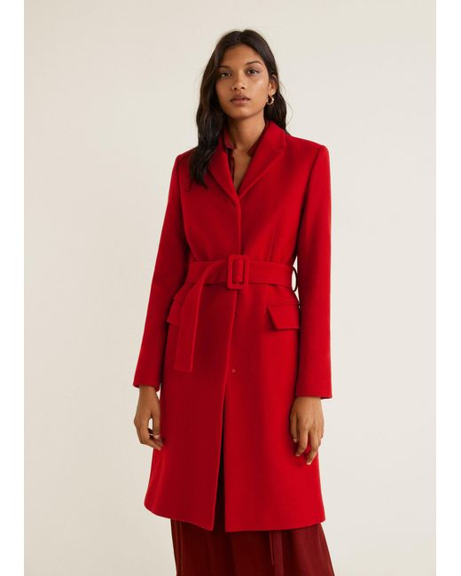Lyst - Mango Structured Wool Coat in Red b08825cda
