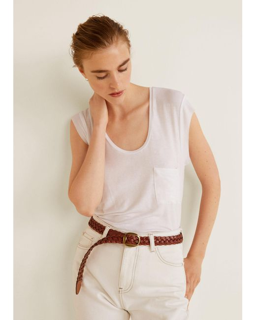 Mango - White Patch Pocket T-shirt - Lyst