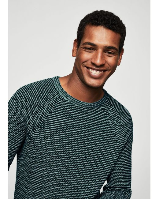 Mango | Green Cotton Chunky-knit Sweater for Men | Lyst