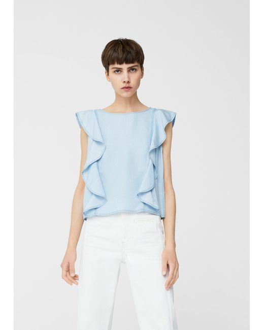 Mango | Blue Frilled Denim Shirt | Lyst