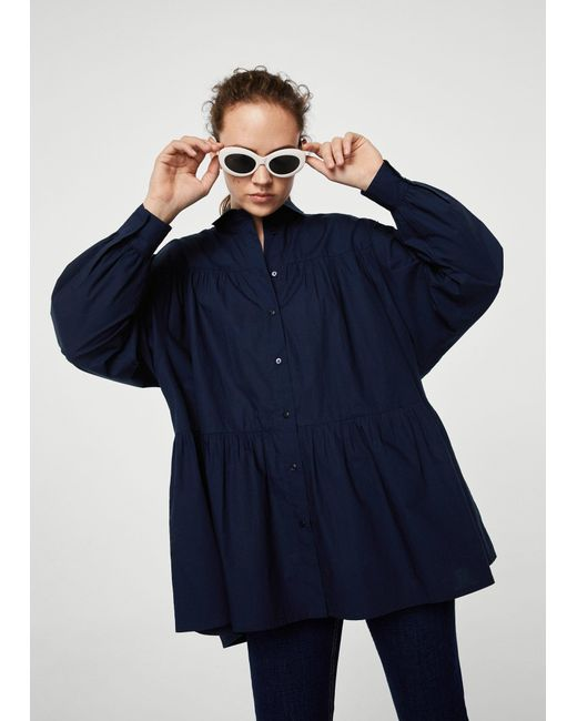 Mango - Blue Oversize Cotton Shirt - Lyst