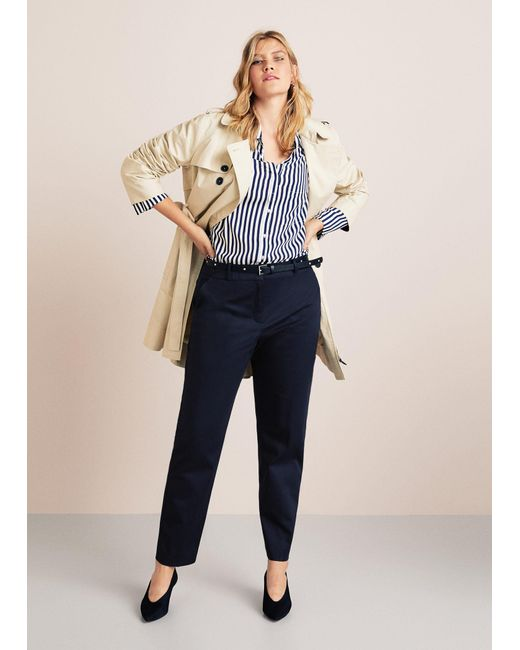 Violeta by Mango - Blue Detachable Belt Trousers - Lyst