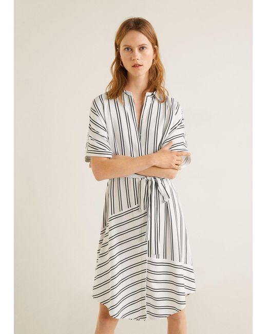06e205ed373 Mango - White Mixed Striped Dress - Lyst ...