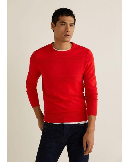 Mango - Orange Striped Structure Sweater for Men - Lyst