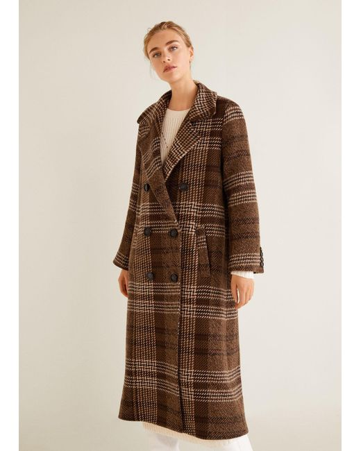 Mango - Brown Checked Recycled Wool Coat - Lyst