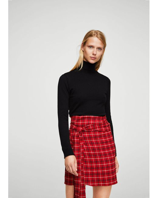 Mango | Red Check Wrap Skirt | Lyst
